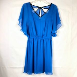Express Womens Blue Sheer Mini Dress 39E
